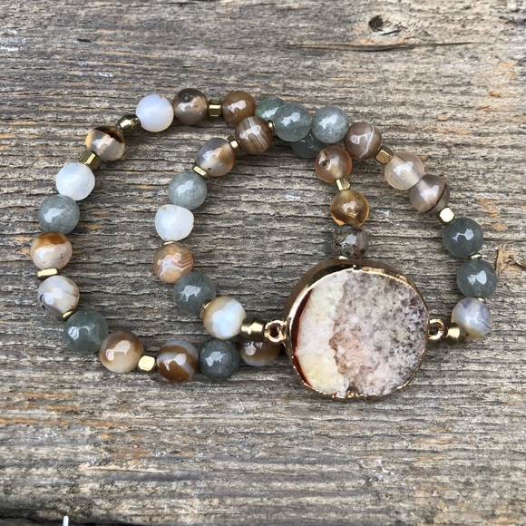 Jewelry - Crystal Beaded Boho Stretch Bracelet Stack